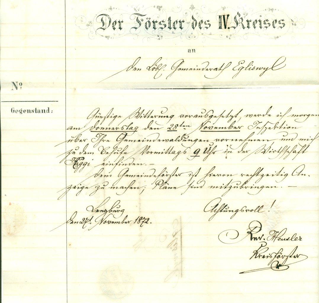 1872 2711 Lenzburg Amtlicher Brief Förster Des Iv Kreises