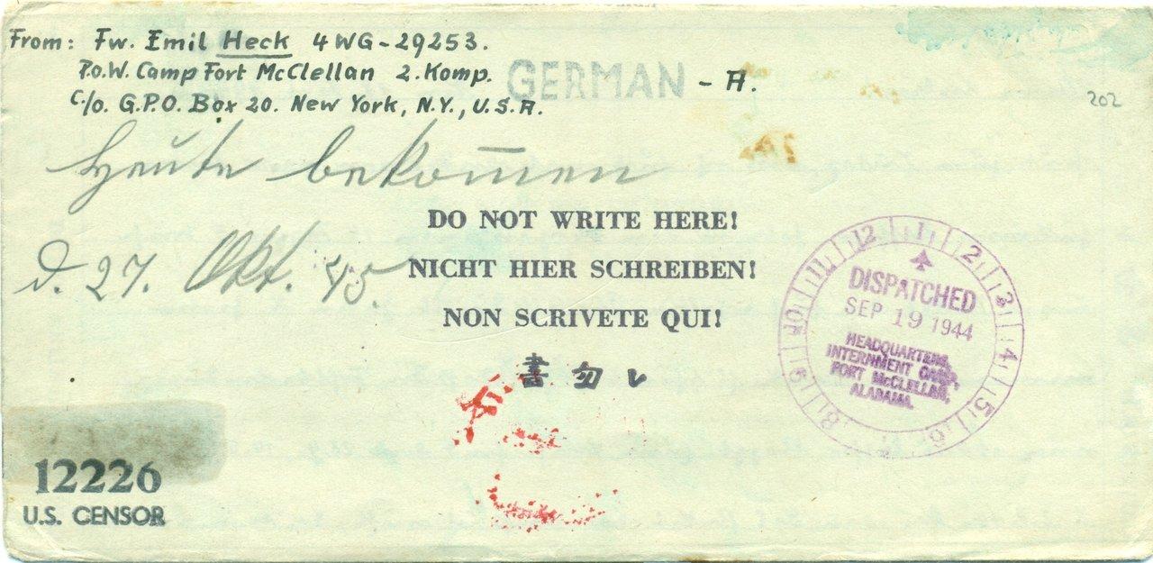 1944 1210 Pow Camp Fort Mc Clellan Usa Nach Reutlingen