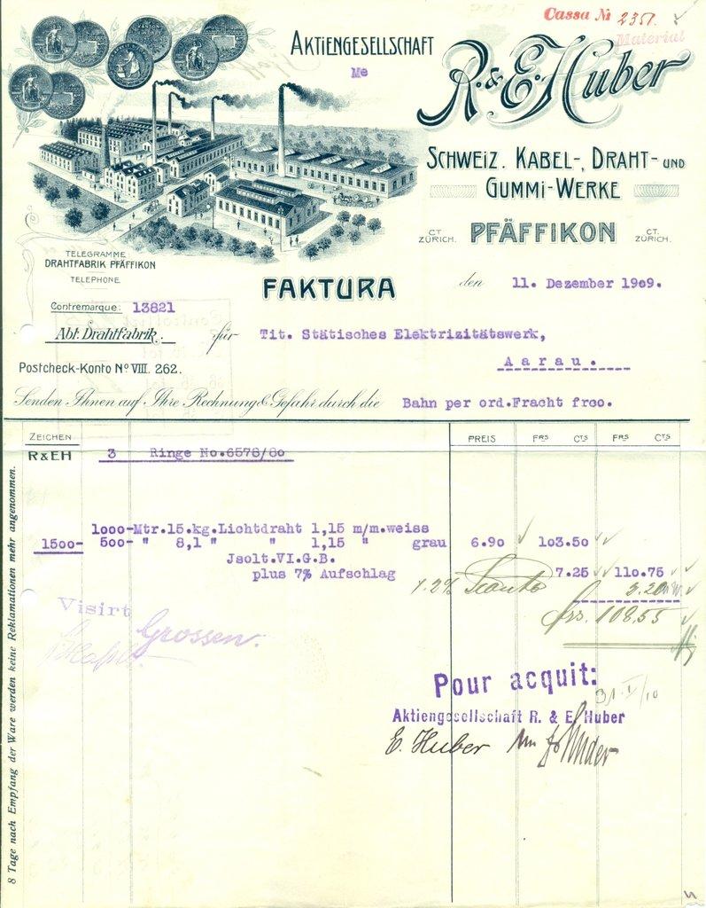 1909 (11.12.) PFÄFFIKON (Kt. Zürich/PK VIII), R. & E. HUBER ...