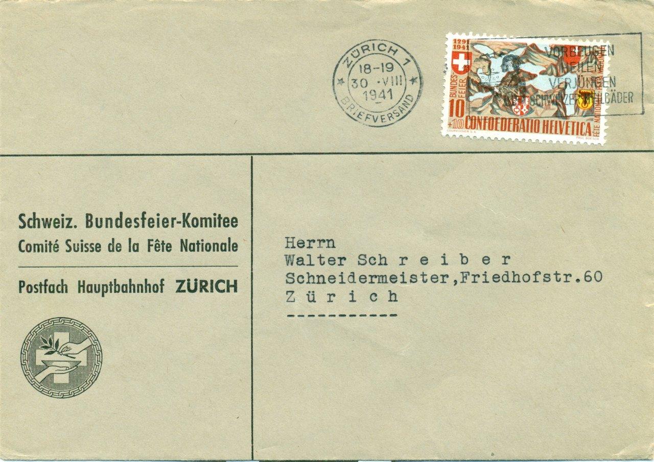 1941 3008 Zürich 1 Briefversand 10 Rp Zu Nr B13 Auf Brief