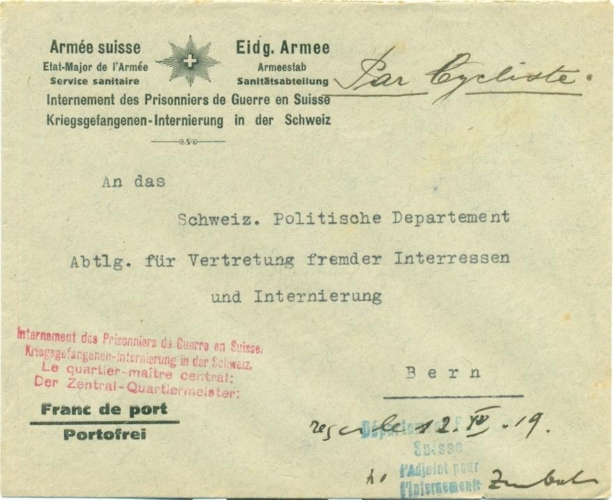 1919 1204 Par Cycliste Brief Per Radfahrer Befördert Absender